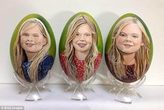 Tiety has also captured Queen Maxima's three daughters on the egg shells, (from left to right) Princess Catharina-Amalia, Princess Alexia and Princess Ariane
