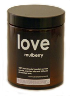 Doftljus LOVE, mulberry via SPA BUTIK -  Spaochwellnessbutik.se. Click on the image to see more!