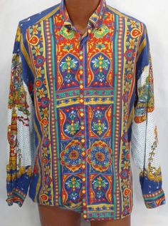 Vtg Versus Gianni Versace Chinese Fan Chinoiserie Baroque Long Sleeve Shirt *