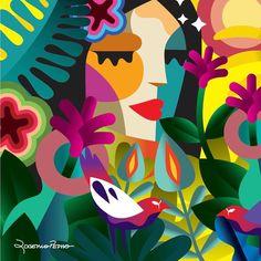 New Toys Illustration Ideas Ideas Mural Wall Art, Murals, Flower Art, Folk Art, Modern Art, Art Drawings, Art Projects, Street Art, Illustration Art