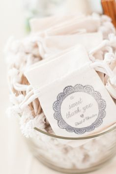 Pretty favor bags with doily motif