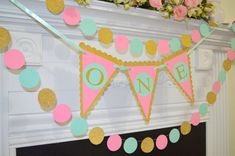 I am One Birthday Banner and Garland set, One Birthday garland, first birthday banner, birthday decoration, gold pink mint, baby's first
