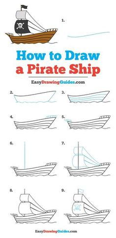 Learn How to Draw a Pirate Ship: Easy Step-by-Step Drawing Tutorial for Kids and Beginners. #Pirate Ship #DrawingTutorial #EasyDrawing See the full tutorial at https://easydrawingguides.com/how-to-draw-a-pirate-ship/.