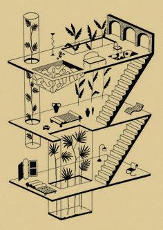 Garance Vallée, Designer from Paris — say hi to_ Architecture Drawing Plan, Architecture Drawing Sketchbooks, Architecture Graphics, Architecture Diagrams, Architecture Portfolio, Isometric Art, Isometric Design, Art Isométrique, Vitrine Design