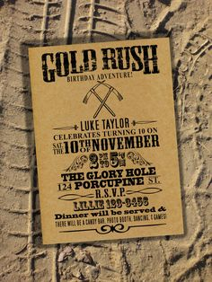 Birthday Party Invitation  Rugged Gold Rush by PixelSeeds on Etsy, $15.00