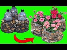 Cum sa facem ciment si pietre de piatra cu flacoane din plastic - Idei Arta pentru gradina - YouTube