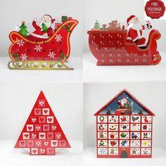 Wooden Christmas Advent Countdown Calendar Decoration Santa Sleigh Tree House | eBay