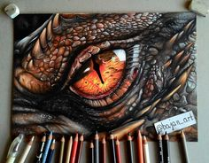 My drawing of Smaug's eye from The Hobbit Watch my Drogon's speed drawing, over 70 hours in 10 minutes: www.youtube.com/watch?v=5qp01G… Used media: Prismacolor Premier...