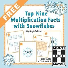 These printable cards have a winter theme. Kids enjoy matching the cards as they play games to practice difficult multiplication facts, the ones for 6 x 7, 6 x 8, 6 x 9, 7 x 7, 7 x 8, 7 x 9, 8 x 8, 8 x 9, and 9 x 9.  ~by Angie Seltzer