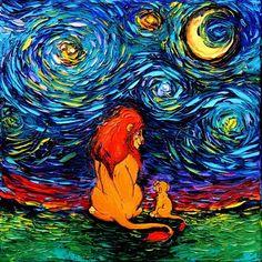 Aja Kusick paints pop culture Starry Night scenes in her 'Van Gogh Never' series. Each cartoon Van Gogh painting puts an artistic spin on pop culture. Art Roi Lion, Lion King Art, Lion Art, Vincent Van Gogh, Art Disney, Disney Magic, Disney Artwork, Images Roi Lion, Arte Van Gogh