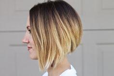 Short ombre bob, cute asymmetrical hair cut