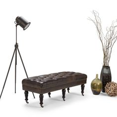 Henley Tufted Ottoman   Distressed Brown   Simpli Home