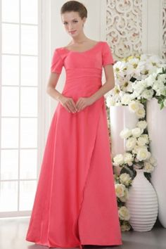 Modest Scoop Neckline Short Sleeves A-line Full Length Watermelon Prom Dresses Affordable Prom Dresses, Plus Size Prom Dresses, Prom Dresses Online, Cheap Prom Dresses, Prom Party Dresses, Bridal Dresses, Evening Dresses, Formal Dresses, Celebrity Evening Gowns
