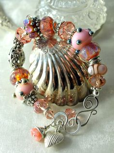 Lampwork and Sterling Silver- This just screams of a happy time wearing it! - Pinned by Beverly Wladyka onto Perfect Shades of Pink from etsy.com