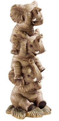 SEE NO EVIL--HEAR NO EVIL--SPEAK NO EVIL ELEPHANT FIGURINE