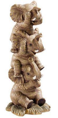 SEE NO EVIL--HEAR NO EVIL--SPEAK NO EVIL ELEPHANT FIGURINE