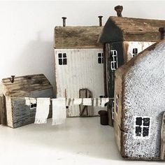 Pin by Diána Németh on reclaimed wood Driftwood Projects, Driftwood Art, Clay Houses, Miniature Houses, House In The Woods, My House, Small Wooden House, Wooden Houses, Hobby House