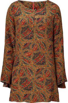 ShopStyle: WGACA Rust paisley silk dress