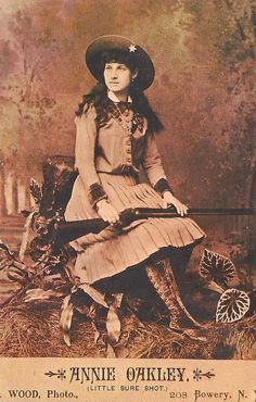 Annie Oakley (1860-1926). Most famous woman marksman of her day. A star with Buffalo Bill's Wild West Show touring the United States and Europe. Sitting Bull also toured with the show but didn't go to Europe. <- Previous Pinner