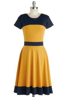 Nothing Like the Wheel Thing Dress in Gold, #ModCloth pair with wedges, coral lips, and braid... $48.99