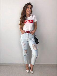 T-shirt Fresh T-shirt Fresh Casual Skirt Outfits, Summer Fashion Outfits, Women's Fashion Dresses, Cute Outfits, Only Fashion, Look Fashion, Girl Fashion, Womens Fashion, T Shirt Fashion