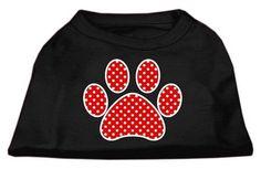 Red Swiss Dot Paw Screen Print Shirt Black Med (12)