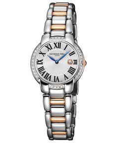 Raymond Weil Watch, Women's Swiss Jasmine Diamond (2/5 ct. t.w.) Two-Tone Stainless Steel Bracelet 35mm 5229-S5S-00659