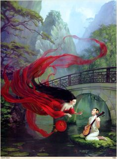 Asian inspired woman playing musical instrument and woman jn red flying around