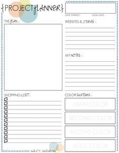 monthly freebie :: project planner printable -- get organized for your next project!