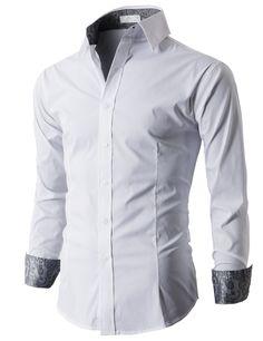 YUNY Men Long Sleeve Slim Fit Autumn Stylish Thin Silky Dress Shirts Blue XL