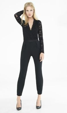 black lace surplice front jumpsuit from EXPRESS