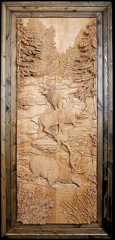 Dave Ganley woodworking... huge elk in stream: very detailed and intricate wood carving done all by hand.