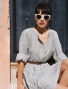 white eyewear w/ men's wear inspired dress