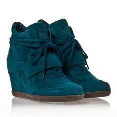 Ash Bowie Womens Wedge Sneaker Teal Suede 330306 (497)