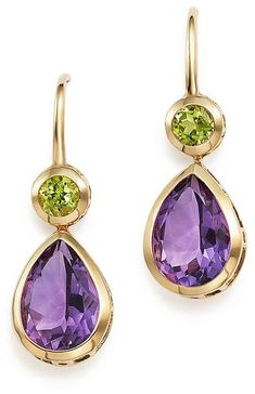 Bloomingdale's Amethyst and Peridot Drop Earrings in Yellow Gold - Exclusive Jewelry & Accessories - Bloomingdale's Peridot Jewelry, Amethyst Earrings, Women's Earrings, Gemstone Jewelry, Diamond Jewelry, Teardrop Earrings, Gold Jewellery, Diamond Earrings, Tourmaline Earrings