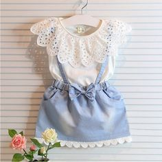 >> Click to Buy << CLEARANCE oddler Girls lace Dress Summer 2016 kids denim Dress Baby short sleeve Dress 2-6y Toddler baby girls clothing #Affiliate
