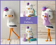 This PDF hand sewing pattern will give you instructions and patterns to make the stork pictured. Size: 9 approximately. Language: English THIS IS NOT A FINISHED DOLLS. THIS PDF e-Pattern includes: . Step by step photo tutorial. . A material and supply list. . Full size pattern pieces