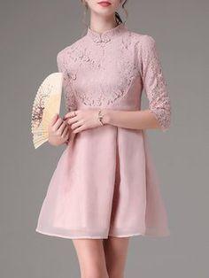 Pink Vintage Stand Collar Paneled Mini Dress