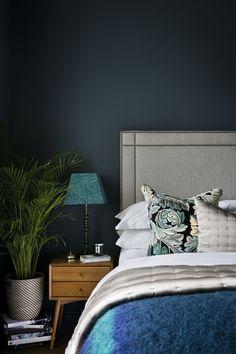 DECOR :: Bedroom Moody dark teal bedroom wall Should I Buy My Teen A Vehicle? Teal Bedroom Walls, Dark Teal Bedroom, Bedroom Decor, Blue Bedrooms, Serene Bedroom, Blue Walls, Apartment Makeover, One Bedroom Apartment, Colorful Apartment