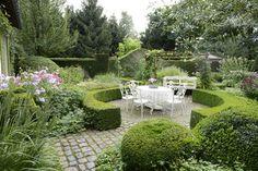 Romantic boxwood garden