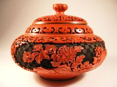 Chinese Cinnabar Box  Hand Carved