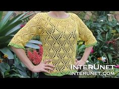 How to crochet a raglan sleeve sweater using pineapple stitch - Part 2 of Visit . for more details and written step-by-step instructions. Crochet Baby Sweater Pattern, Crochet Baby Sweaters, Crochet Blouse, Crochet Clothes, Knit Sweaters, Lace Sweater, Chunky Crochet, Knit Crochet, Crochet Tops