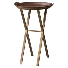 Threshold™ Wood and Brass Finish X-Base Accent Table... for plants, or side table $41