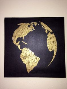 Pinterest challenge gold leaf map art canvases gold and leaves hand painted you are sure to absolutely love this piece simple and elegant the map of the world is painted on a black canvas using the finest gumiabroncs