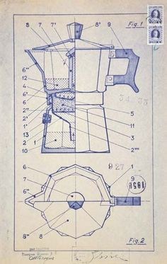 Moka Bialetti (1933) by Alfonso Bialetti. #productdesign #industrialdesign #ID #design #sketch #drawing