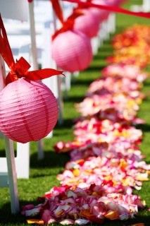 Lantern aisle decorations, so cheap and so many color choices!
