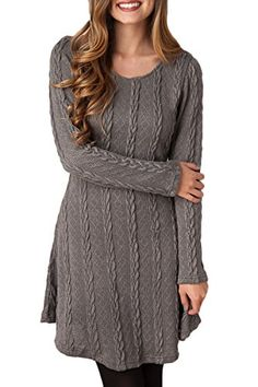 80a3a21d58671 Mulisky Women s Crewneck Long Sleeve Knitted Casual Sweater A Line Mini  Dress at Amazon Women s Clothing store