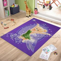 TINKERBELL FAIRY MAGIC PURPLE KIDS FUN RUG 100x150 NON-SLIP & WASHABLE **NEW**