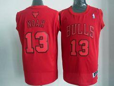 Adidas NBA Chicago Bulls 13 Joakim Noah Big Color Fashion Swingman Christmas Day Red Jerseys