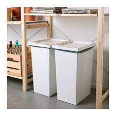 IKEA - FILUR, Dunk med lokk, 42 l, , Enkel rengjøring takket vær avrundede hjørner. Recycling Storage, Can Storage, Storage Bins With Lids, Storage Rack, Garbage Recycling, Smart Storage, Ikea Kitchen Cabinets, Kitchen Cabinet Drawers, Kitchen Bins